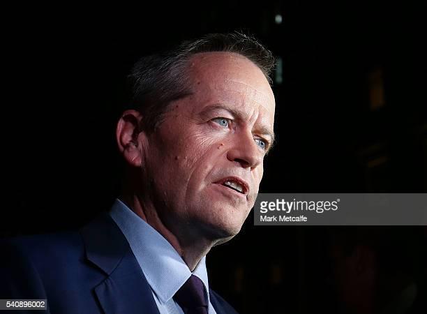 Opposition Leader Bill Shorten talks to media after a leaders debate on June 17 2016 in Sydney Australia