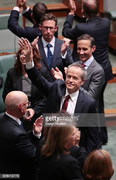 Opposition leader Bill Shorten waves to people in the house after delivering his budget reply speech on May 5 2016 in Canberra Australia The Turnbull...
