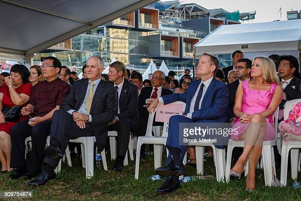 Opposition leader Bill Shorten with his wife Chloe and Prime Minister Malcom Turnbull attend the Chinese New Year Lantern Festival at Tumbalong Park...