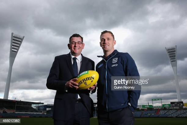 Opposition leader Daniel Andrews and Joel Selwood of the Cats pose during a press conference at Simonds Stadium on September 9 2014 in Geelong...