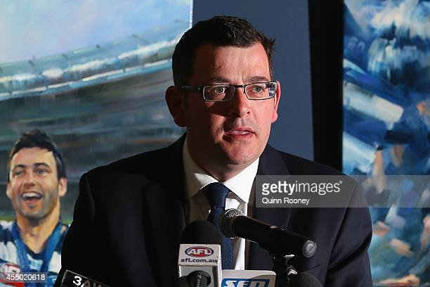 Opposition leader Daniel Andrews speaks during a press conference at Simonds Stadium on September 9 2014 in Geelong Australia The Labor Party today...