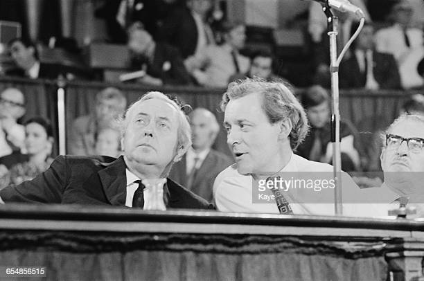 Opposition leader Harold Wilson and Anthony Wedgwood Benn at the Labour Party Special Conference on the Common Market in London UK 17th July 1971
