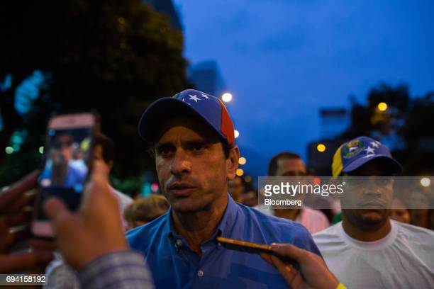 Opposition leader Henrique Capriles governor of the Miranda State speaks to members of the media during a vigil in honor of 17 yearold protester...