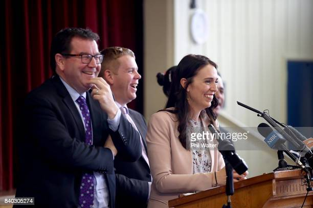 Opposition Leader Jacinda Ardern announces the Labour Party's tertiary education policy at Western Springs College on August 29 2017 in Auckland New...