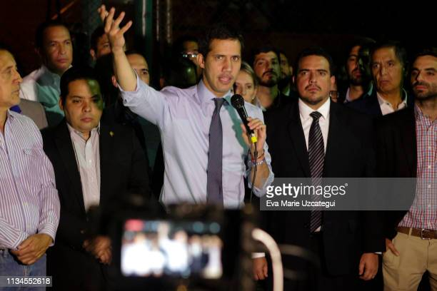 Opposition leader Juan Guaidó delivers a speech during a press conference after National Constituent Assembly withdraws his political inmunity on...