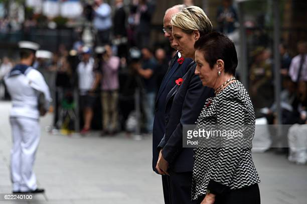 NSW Opposition Leader Luke Foley Federal Deputy leader of the Opposition Tanya Plibersek and Sydney Lord Mayor Clover Moore pay their respects after...