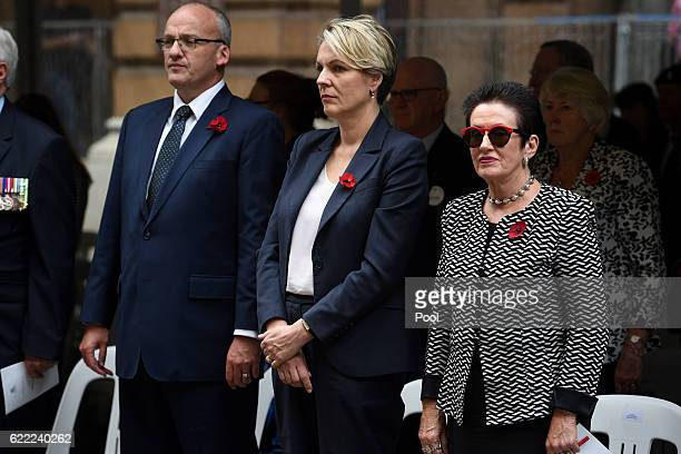 NSW Opposition Leader Luke Foley Federal Deputy leader of the Opposition Tanya Plibersek and Sydney Lord Mayor Clover Moore watch on during the...