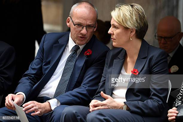 Opposition Leader Luke Foley speaks with Federal Deputy leader of the Opposition Tanya Plibersek prior to the Remembrance Day service at the Cenotaph...