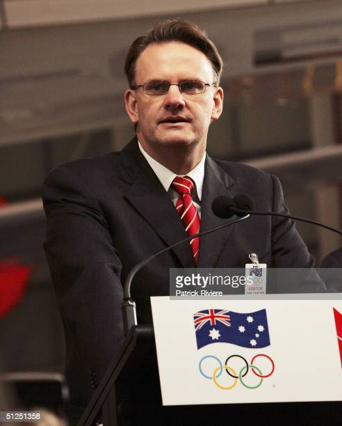 Opposition leader Mark Latham speaks at the Olympic team homecoming welcome at the Qantas Jetbase on September 1 2004 in Sydney Australia