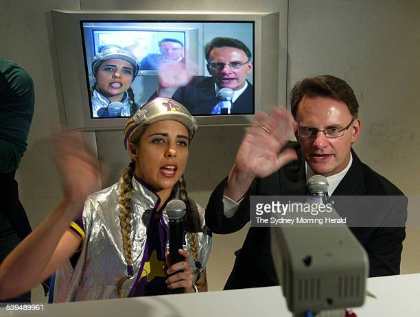 Opposition Leader Mark Latham with Captain Starlight while visting Westmead Childrens Hospital on Thursday 26 August 2004 SMH NEWS Picture by PETER...