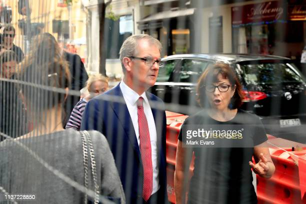 Opposition Leader Michael Daley speaks to business owners on Crown Street in Surry Hills on March 21 2019 in Sydney Australia The Sydney light rail...