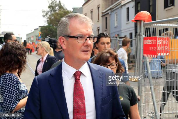 Opposition Leader Michael Daley speaks to business owners on Devonshire Street in Surry Hills on March 21 2019 in Sydney Australia The Sydney light...