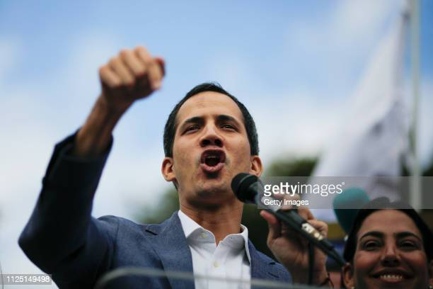 Opposition leader of Venezuela Juan Guaidó delivers a speech during a demonstration on January 26, 2019 in Caracas, Venezuela. Opposition leader Juan...