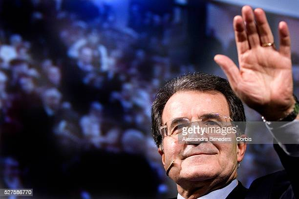 Opposition leader Romano Prodi delivers a speech during the official presentation of his opposition party, L'Unione ahead of the Italian general...