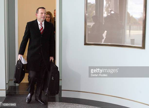 Opposition leader Tony Abbott arrives at Parliament House on August 23 2010 in Canberra Australia Australia faces it's first hung parliament since...