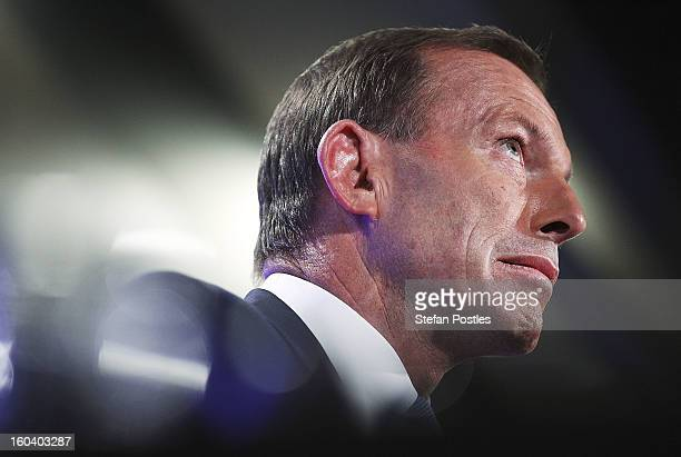 Opposition leader Tony Abbott gives his address at the National Press Club on January 31 2013 in Canberra Australia Prime Minister Gillard yesterday...