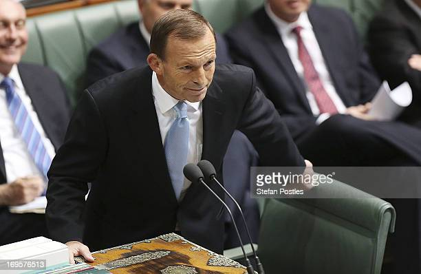 Opposition Leader Tony Abbott smiles during House of Representatives question time on May 28 2013 in Canberra Australia Prime Minister Gillard today...