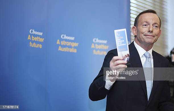 Opposition Leader Tony Abbott speaks to Coalition MPs in the party room on June 28 2013 in Canberra Australia Abbott questioned the credibility of...