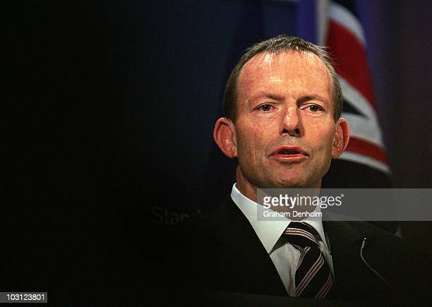 Opposition Leader Tony Abbott talks during a joint press conference at the Intercontinental Hotel on July 28, 2010 in Sydney, Australia. The...