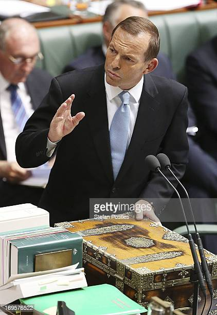 Opposition Leader Tony Abbott talks during House of Representatives question time on May 28 2013 in Canberra Australia Prime Minister Gillard today...