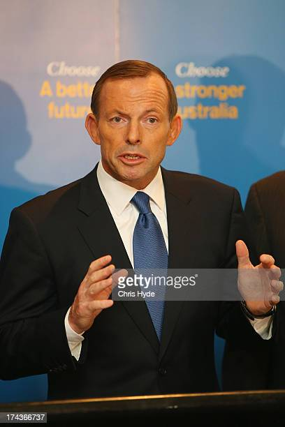 Opposition Leader Tony Abbott unveils the Coalition Border Protection Policy at the Hilton Hotel on July 25 2013 in Brisbane Australia Abbott...