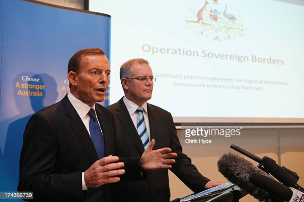 Opposition Leader Tony Abbott unveils the Coalition Border Protection Policy with Shadow Minister for Immigration Scott Morrison at the Hilton Hotel...