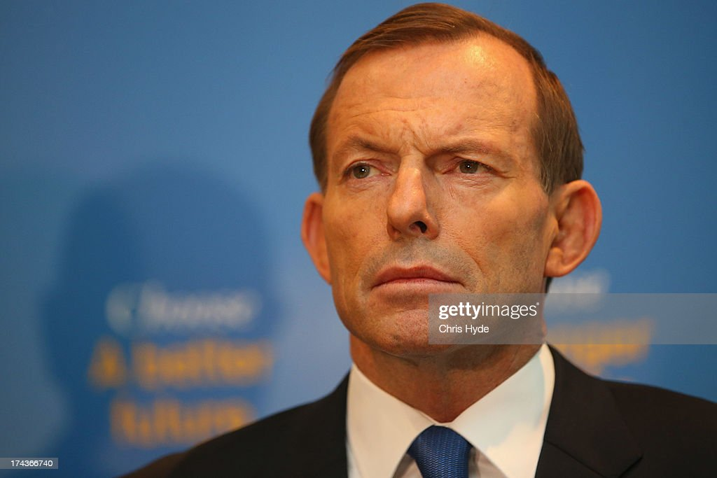 Opposition Leader Tony Abbott Unveils Coalition Border Protection Policy : News Photo