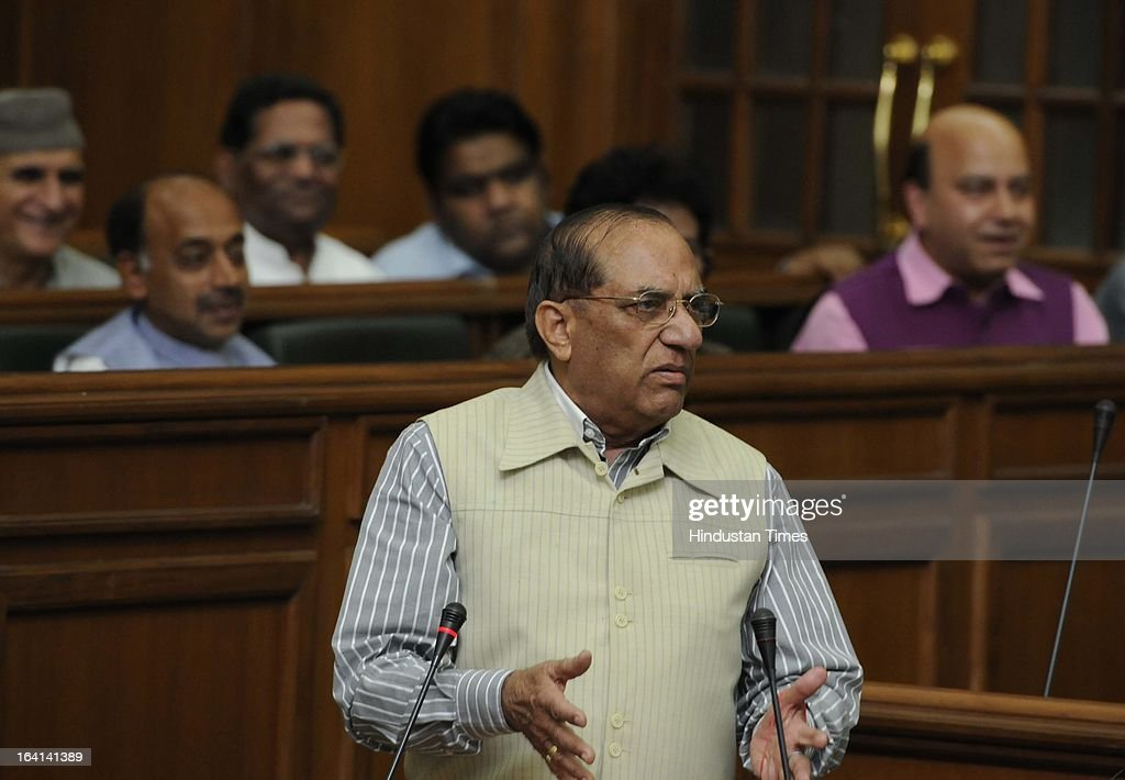 Opposition leader Vijay Kumar Malhotra reacting to the budget for the year 2013-14 at Old Secretariat on March 20, 2013 in New Delhi, India. Presenting the 15th consecutive budget of her government, Delhi CM Sheila Dikshit focused on on social sector projects in an election year. Out of Rs 16,000 crore earmarked as plan outlay, Rs 10,351 cr was allocated for social sector schemes.