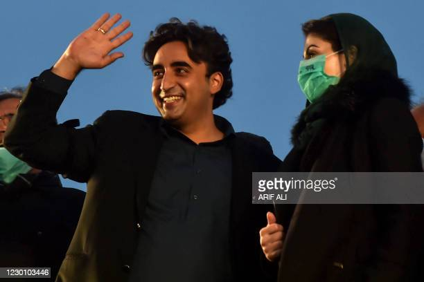 Opposition leaders Bilawal Bhutto Zardari and Maryam Nawaz of Pakistan Democratic Movement arrive to attend an anti-government rally in Lahore on...