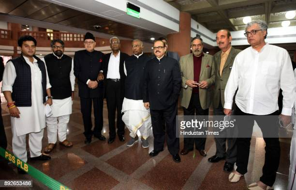 Opposition leaders Ghulam Nabi Azad Derek O'Brien Anand Sharma Mallikarjun Kharge Farooq Abdullah and other opposition party leaders arrive for an...