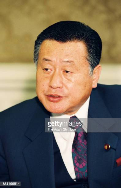 Opposition Liberal Democratic Party SecretaryGeneral Yoshiro Mori speaks during the Asahi Shimbun interview at the diet building on December 8 1993...