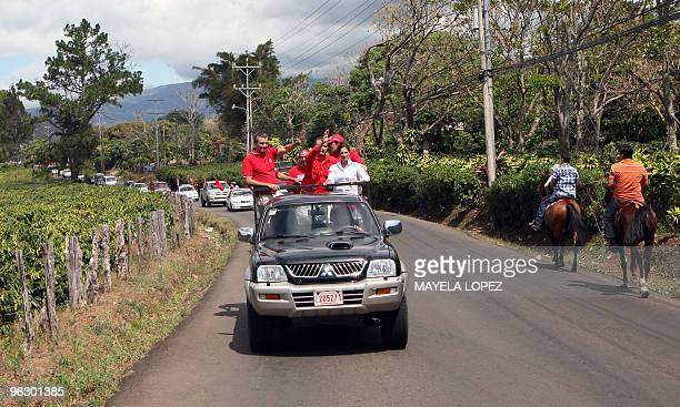 Opposition Libertarian Movement presidential candidate Otto Guevara waves to supporters on January 31 in Tambor de Alajuela 26 kilometers northwest...