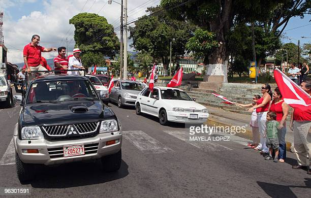 Opposition Libertarian Movement presidential candidate Otto Guevara points to supporters on January 31 in Poas de Alajuela 35 kilometers northwest of...