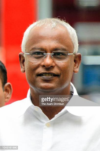 Opposition Maldivian Democratic Party presidential candidate Ibrahim Mohamed Solih is seen after casting his ballot in the presidential election at a...