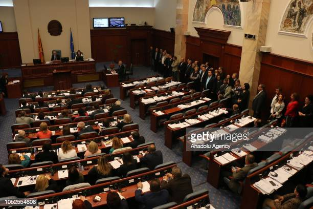 Opposition members of parliament stand to boycott the vote as Macedonia's MPs vote to start changing constitutional amendments to rename the country...