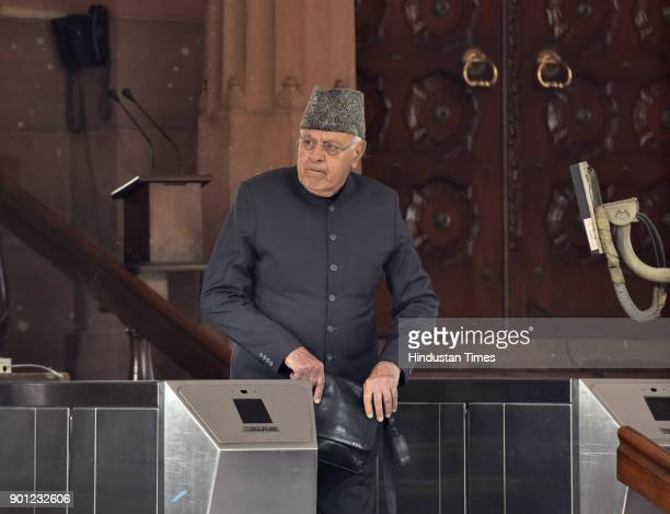 Opposition National Conference president Farooq Abdullah Farooq Abdullah after attending Parliament Winter Session on January 4 2018 in New Delhi...