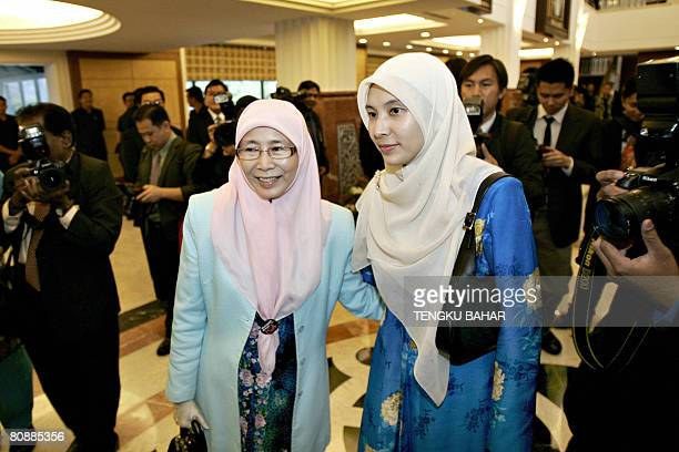 Opposition Parti Keadilan Rakyat president Wan Azizah Ismail who is the wife of former deputy prime minister Anwar Ibrahim arrives at the parliament...