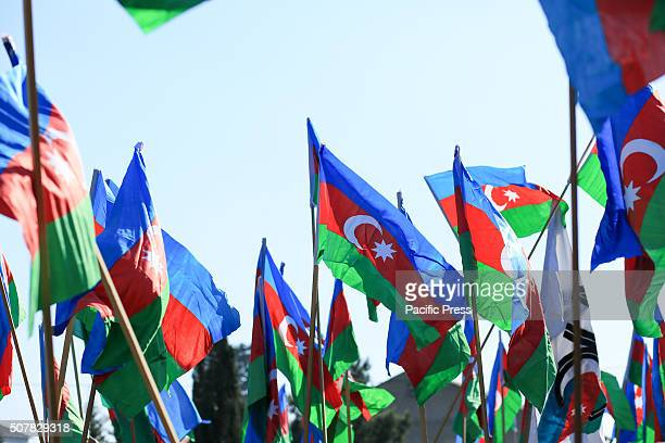 Opposition parties and Azerbaijan flags during the 132nd birth anniversary of Mammad Amin Rasulzade in Baku's village in Novkhani Today is the 132nd...