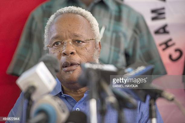 Opposition party Chadema presidential candidate Edward Lowassa speaks to reporters in Dar es Salaam on October 29 2015 after Tanzania's ruling party...
