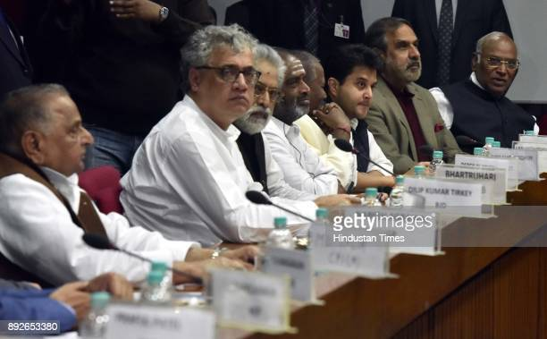 Opposition party leaders during the allparty meeting on the eve of the commencement of the winter session of Parliament on December 14 2017 in New...
