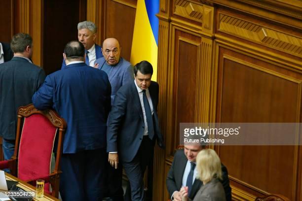 Opposition Platform - For Life faction co-heads Yurii Boiko, Vadym Rabinovych and Speaker Dmytro Razumkov are seen in the praesidium during a plenary...