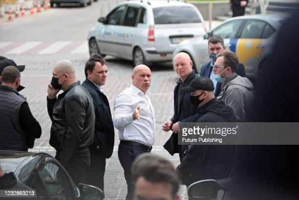 Opposition Platform - For Life MP Illia Kyva is pictured outside the Pecherskyi District Court due to host a bail hearing of Opposition Platform -...