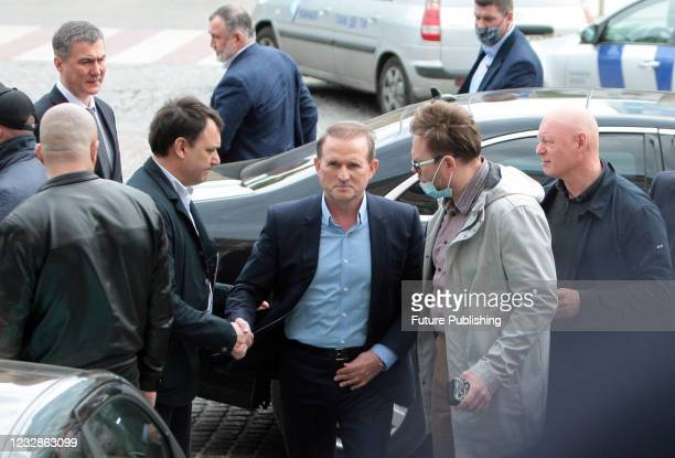 Opposition Platform - For Life MP Viktor Medvedchuk arrives at a bail hearing at the Pecherskyi District Court in Kyiv, capital of Ukraine. The...