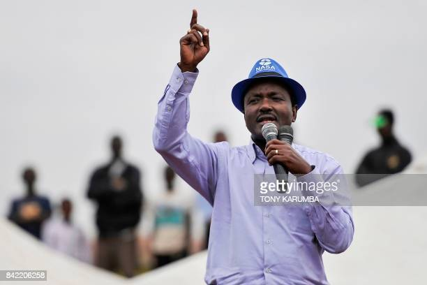 Opposition politician former vicepresident Kalonzo Musyoka speaks during a political rally with opposition leader Raila Odinga on September 3 2017 in...