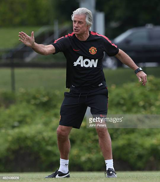 Opposition scout Marcel Bout of Manchester United in action during a first team training session as part of their pre-season tour of the United...