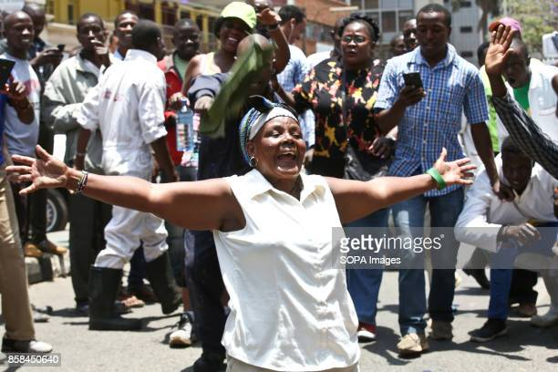 Opposition supporter protest over the electoral reforms before the 26th October repeat presidential election antriot police tear gassed them on...