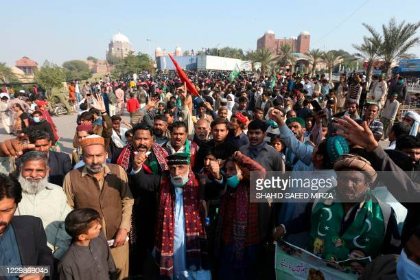 Opposition supporters of Pakistan Democratic Movement gather during an anti-government rally in Multan on November 30, 2020.