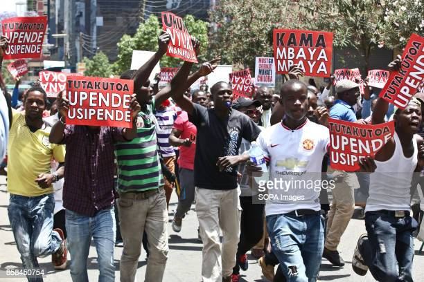 Opposition supporters protest in Nairobi streets for the second week where Kenyan opposition coalition National Supper Alliance Leaders today...