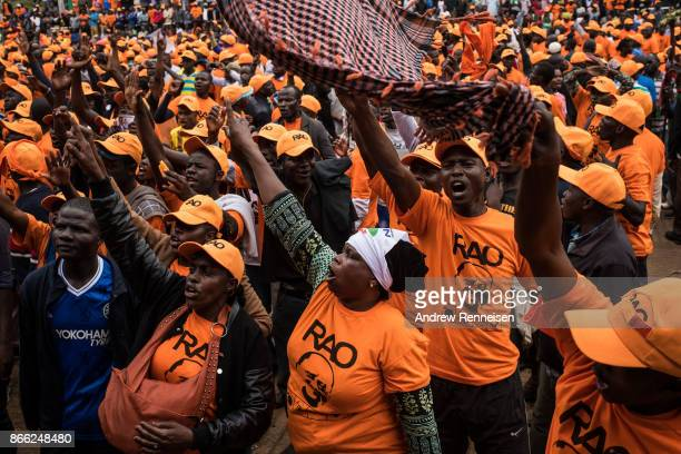 Opposition supporters rally for presidential candidate Raila Odinga in Uhuru Park on October 25 2017 in Nairobi Kenya Tensions are high as Kenyans go...