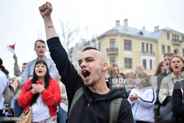 Opposition supporters rally to protest against disputed presidential elections results in Minsk on August 23, 2020.